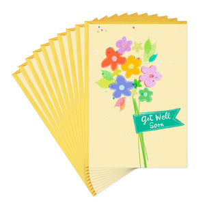 Colorful Flowers Get Well Cards, Pack of 10