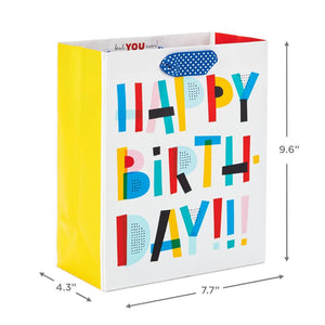 "9.6"" Colorful Happy Birthday Gift Bag"