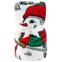 Load image into Gallery viewer, Sledding Snowmen and Cardinals Throw Blanket, 60x72