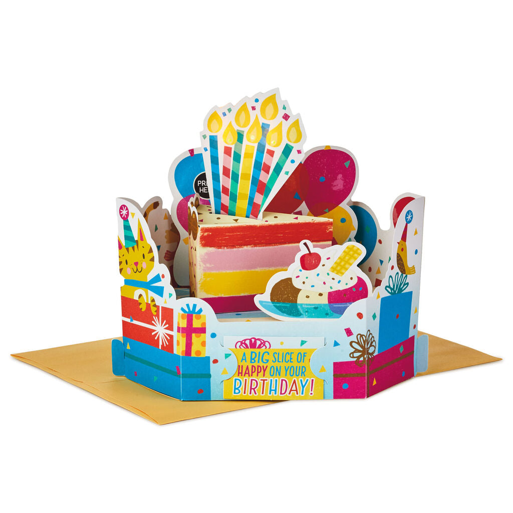 Slice of Happy Cake 3D Pop-Up Musical Birthday Card With Light
