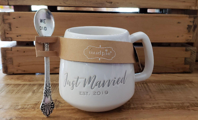 Just Married Wedding Mug and Spoon Set, Est. 2019