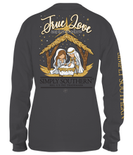 Load image into Gallery viewer, Long Sleeve TRUE LOVE WAS BORN IN A BARN Iron Simply Southern