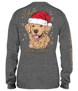 Simply Southern BELIEVE DOG SANTA HAT Long Sleeve T-Shirt