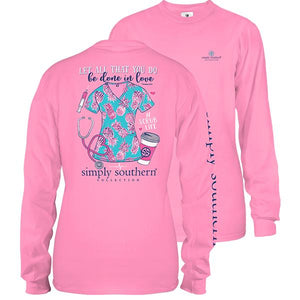 Simply Southern Scrub Long Sleeve T-Shirt Flamingo