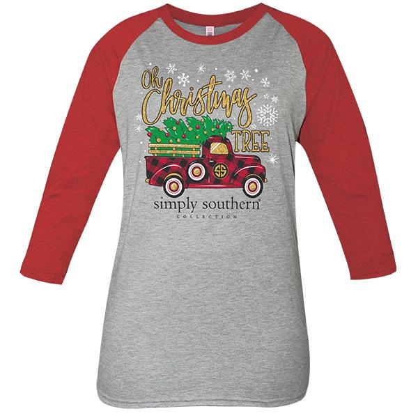 Simply Southern  OH CHRISTMAS TREE Red Truck 3/4 Sleeve Shirt