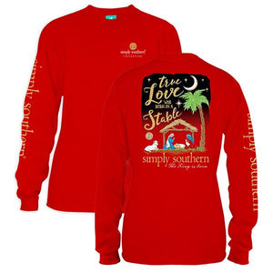 Simply Southern RED--TRUE LOVE WAS BORN IN A STABLE Long Sleeve
