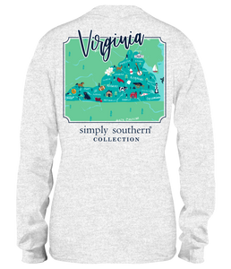 Simply Southern LS VIRGINIA Block Letters TShirt