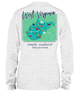 Simply Southern LS WEST VIRGINIA Block Letters TShirt