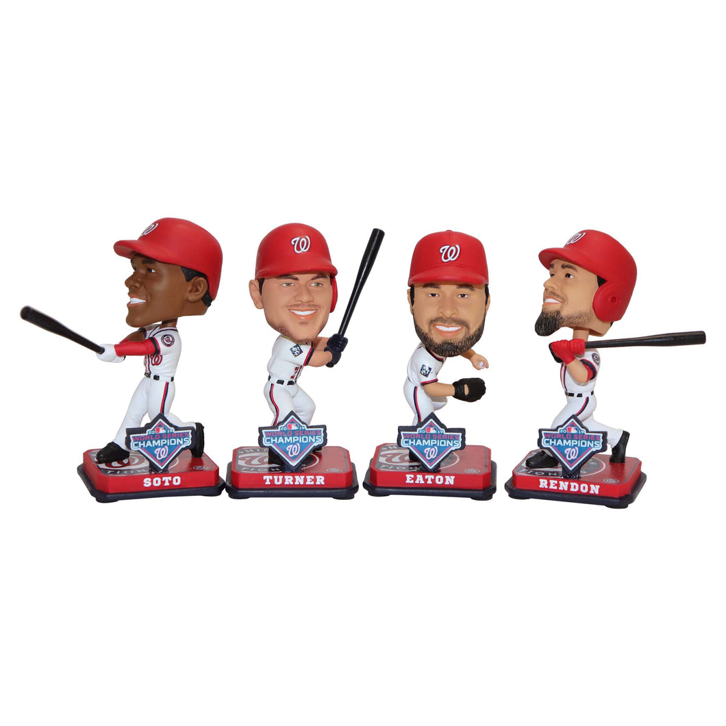 WASHINGTON NATIONALS MINI BOBBLE SET WORLD SERIES 2019 FEATURES TURNER EATON RENDON AND SOTO