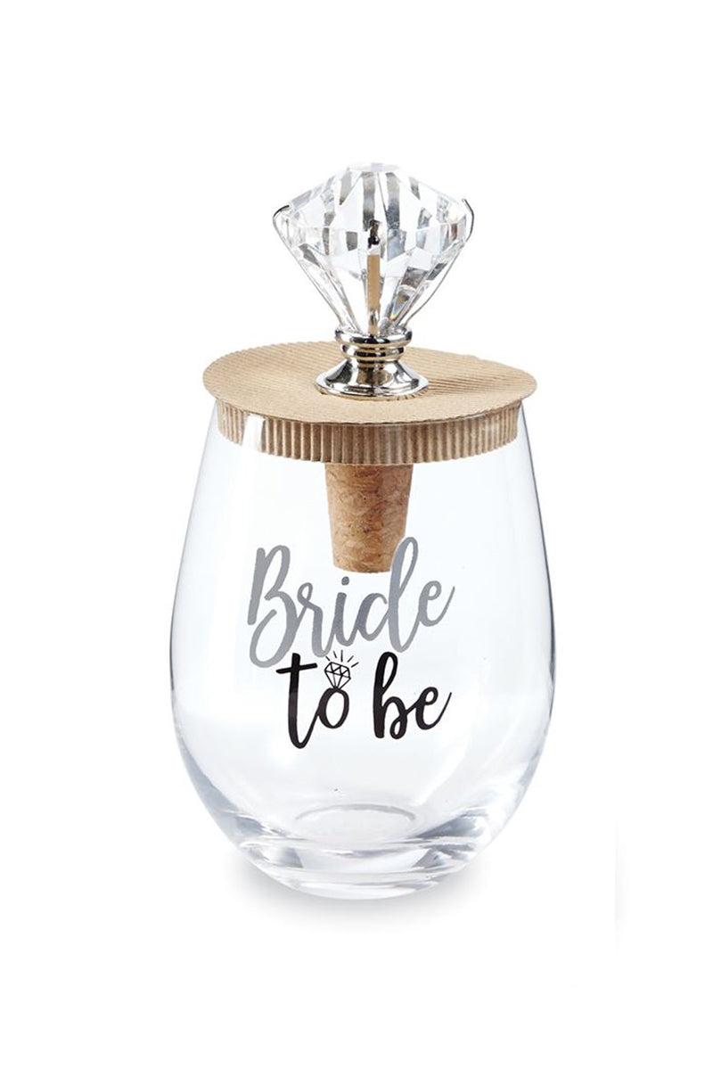 Bride To Be Stemless Wine Glass & Stopper Set 16 oz Mud Pie