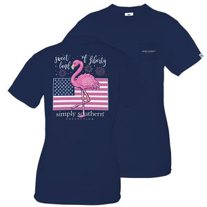 SIMPLY SOUTHERN PREPPY LIBERTY SHORT SLEEVE SHIRT WITH POCKET