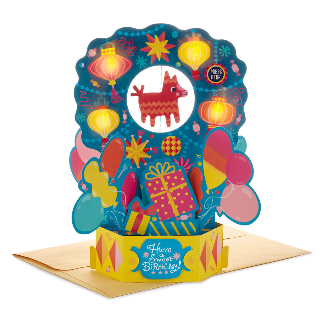 Piñata and Presents 3D Pop-Up Musical Birthday Card With Light