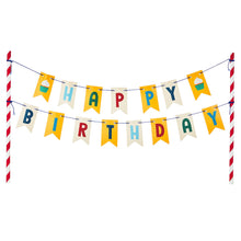 Load image into Gallery viewer, Red and Blue Happy Birthday Banner Cake Topper