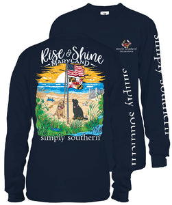 "Simply Southern Navy T-Shirt ""Rise & Shine Maryland""  LONG SLEEVE"
