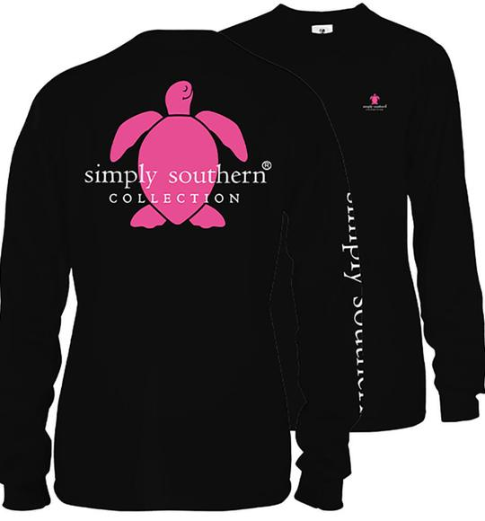 Simply Southern Logo Pink Turtle Black Long Sleeve T-Shirt