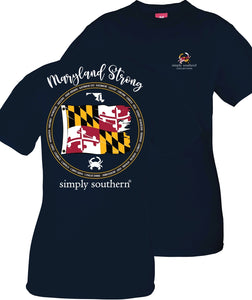 """Maryland Strong"" Simply Southern Custom Design NAVY Short Sleeve T-Shirt  Pam's Exclusive"