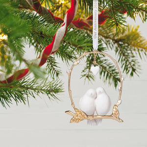 Still Lovebirds Anniversary 2020 Porcelain and Metal Ornament