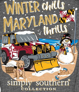 "EXCLUSIVE LONG SLEEVE T-SHIRT  ""WINTER CHILLS, MARYLAND THRILLS"""