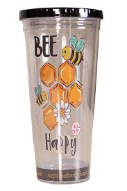 Bee Happy Simply Southern Tumbler