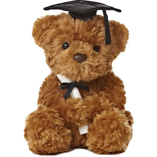 Graduation Plush Bear with Black Cap