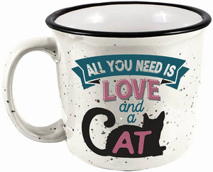 All You Need is Love and a Cat Camper Mug 14 oz