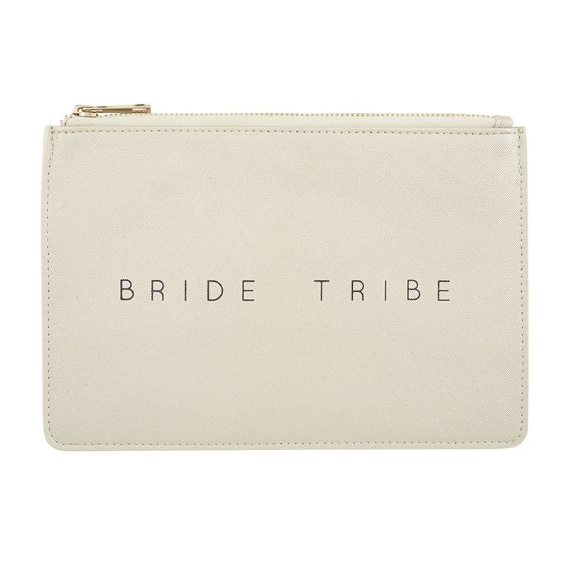Bride Tribe Metallic Silver Pouch