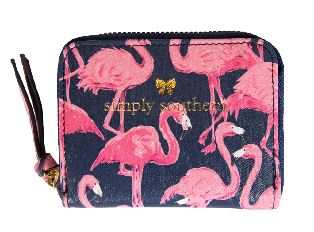 Flamingo Patterned Coin Wallet Simply Southern