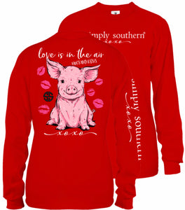Simply Southern PIG-LOVE IS IN THE AIR Long Sleeve T-Shirt