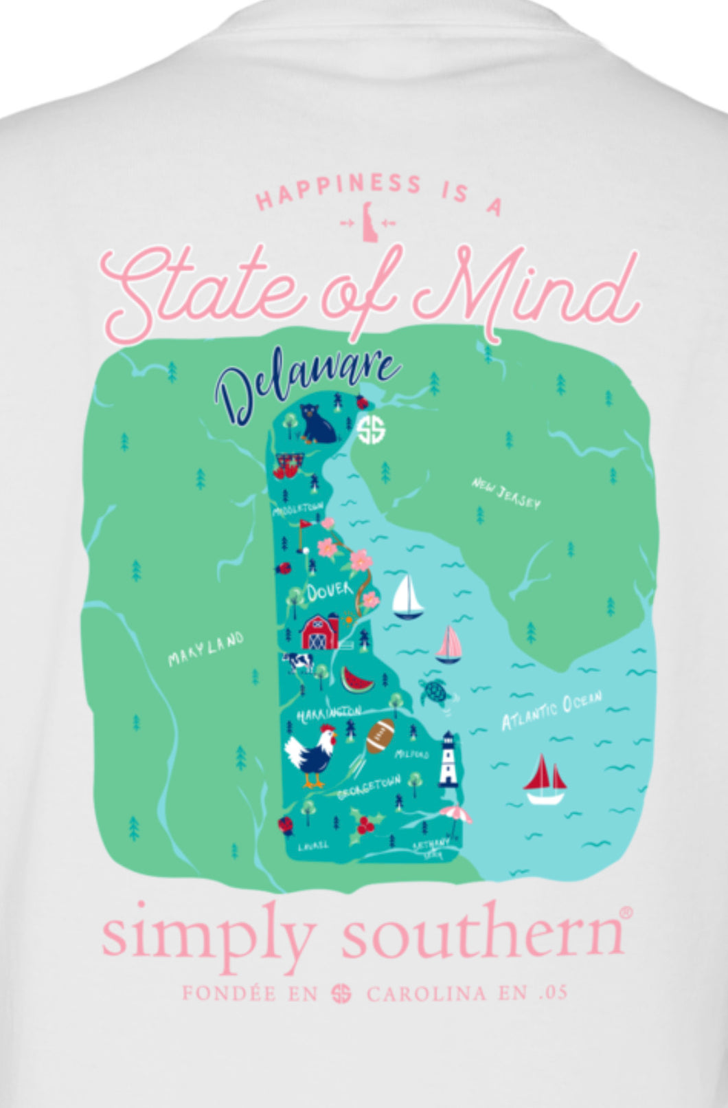 Delaware Happiness State of Mind Simply Southern T-Shirt