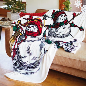 Sledding Snowmen and Cardinals Throw Blanket, 60x72