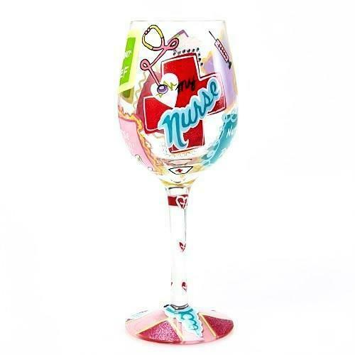 Love My Nurse Wine Glass Lolita