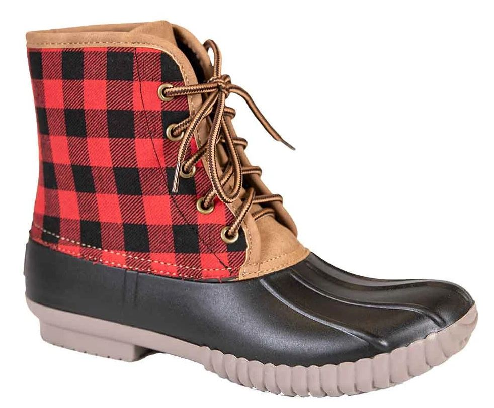 WOMEN'S RED PLAID DUCK BOOTS