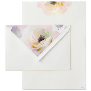 Watercolor Rose Paper and Envelopes Stationery Set, Box of 20