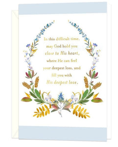 Floral Wreath Religious Sympathy Cards, Pack of 10