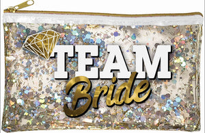 Team Bride Glitter Zippered Bag