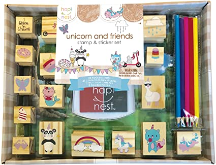 Unicorn and Friends Wooden Stamp & Sticker Set