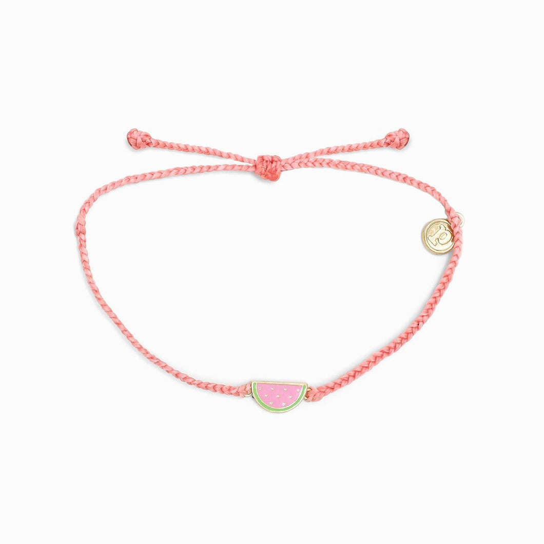 Pura Vida Gold Enamel Watermelon Bracelet Light Pink