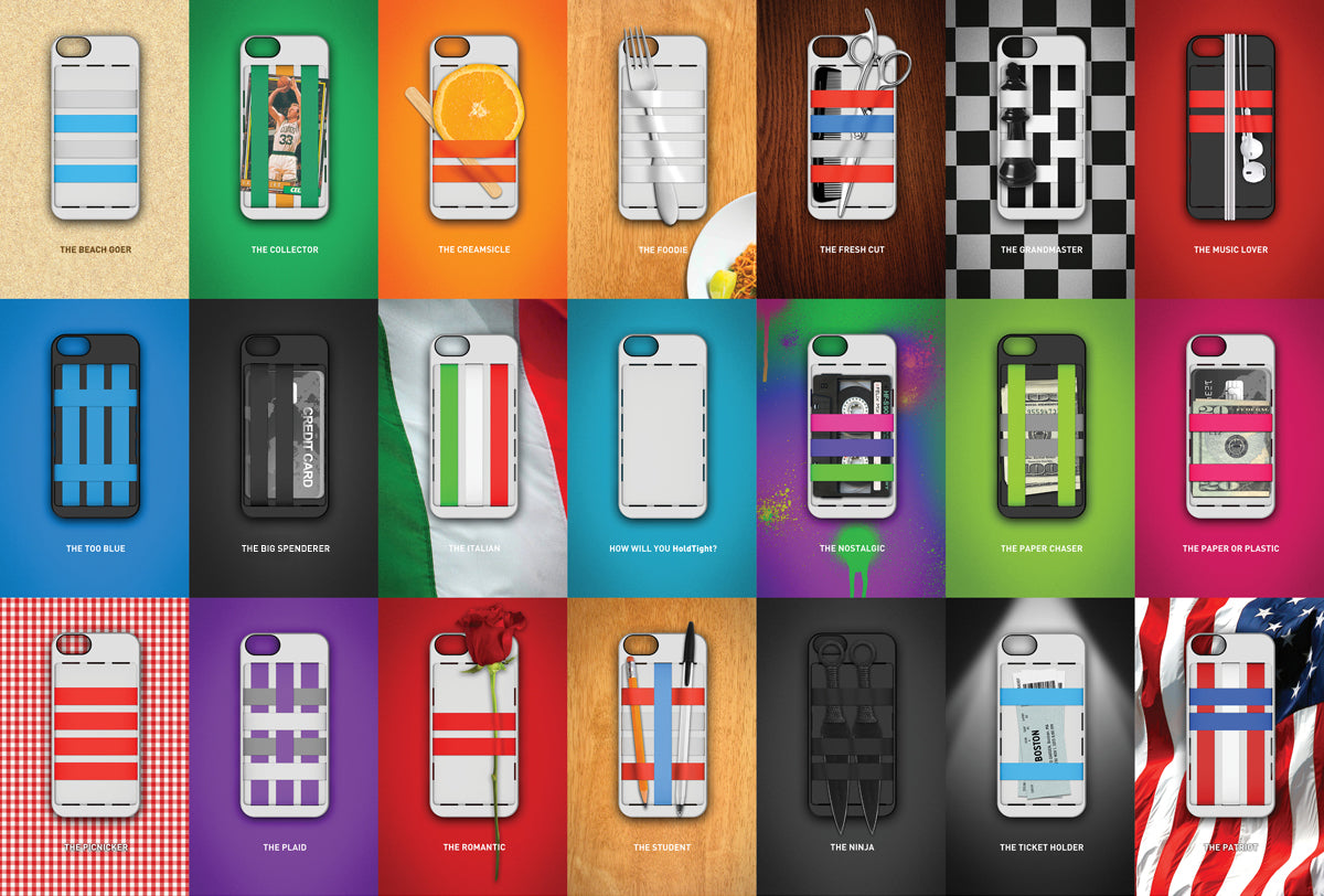Examples of creative designs for HoldTight iPhone case
