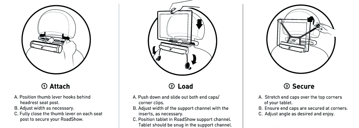 Installation instructions for Felix Roadshow iPad Car Mount