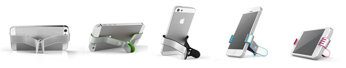 Various views of Felix's SmallHands iPhone Stands holding iPhones