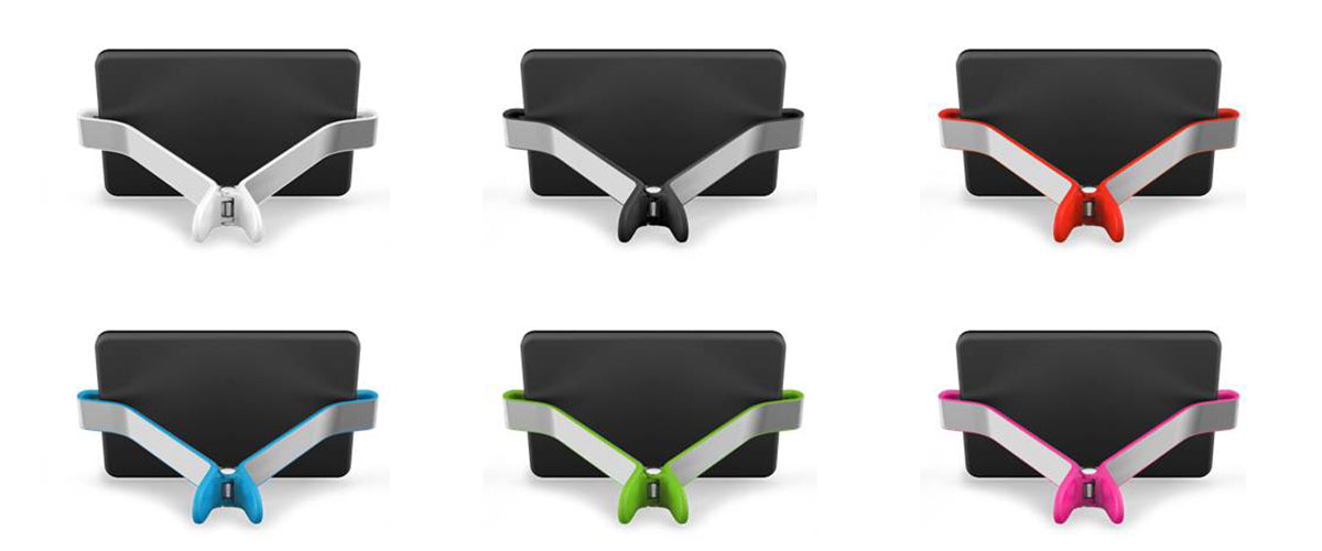 Back views of TwoHands iPad holder color options