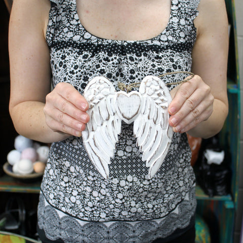 Angel Wings & Heart - 15cm (Small) ~ with Blackboard.  Made from sustainable wood.