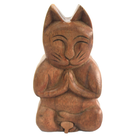 Wooden Puzzle or Gift Box - Yoga Cat.  Hand Made.