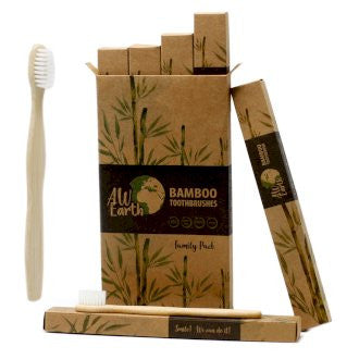 Bamboo Toothbrushes - Family Pack of 4 (two small and two medium sized) - Med Soft bristles