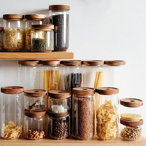 Cottage Bamboo Storage Glass Jars - Eco-friendly Bamboo & Glass ~ 4 sizes available