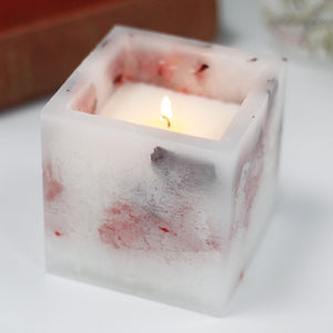 Luxury Scented Enchanted Glowing Candle ~ Large Square - Rose 10 cm