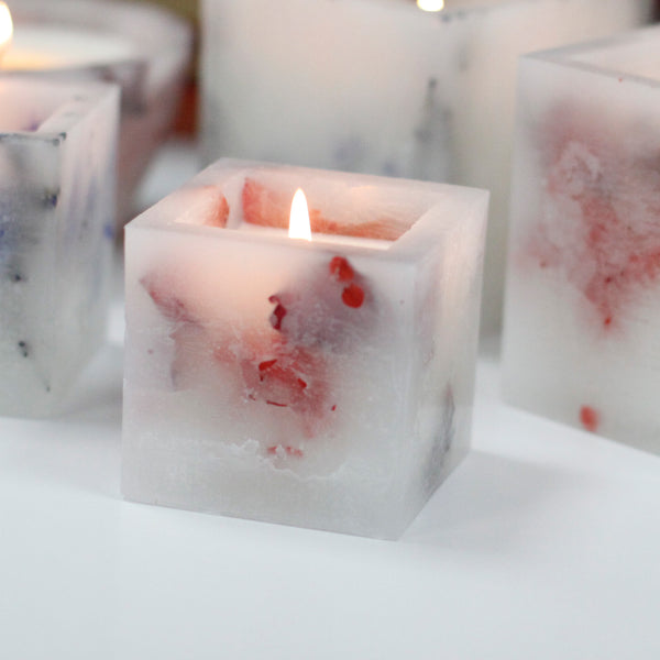 Luxury Scented Enchanted Glowing Candle ~ Small Square Jar - Rose 7cm