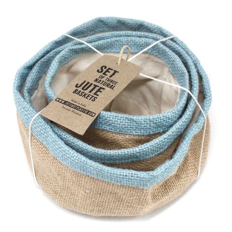 Jute & Cotton Eco-Friendly 3 Storage/Gift Baskets. 4 Colour Options