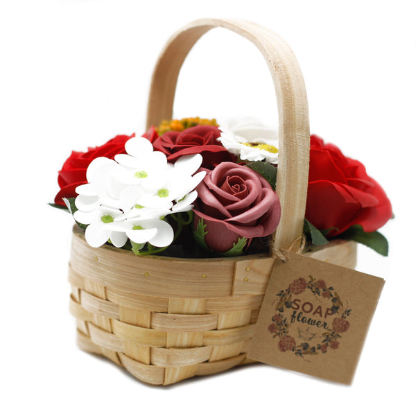 Soap Flowers - Medium Bouquet in Wicker Basket ~ 4 Colour Options