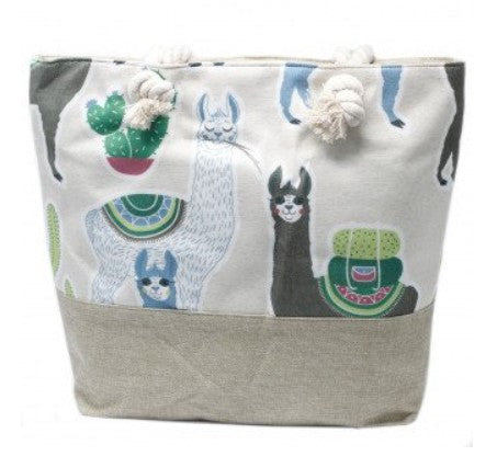Rope Handle Bag - Llamas